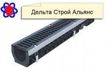 Лоток водоотводный PolyMax Drive ЛВ-10.16.12-ПП пластиковый с решеткой щелевой чугунной
